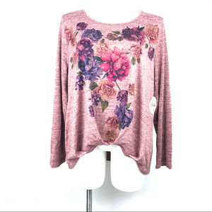 Soleillee Long Sleeve Gathered Front Beaded Top